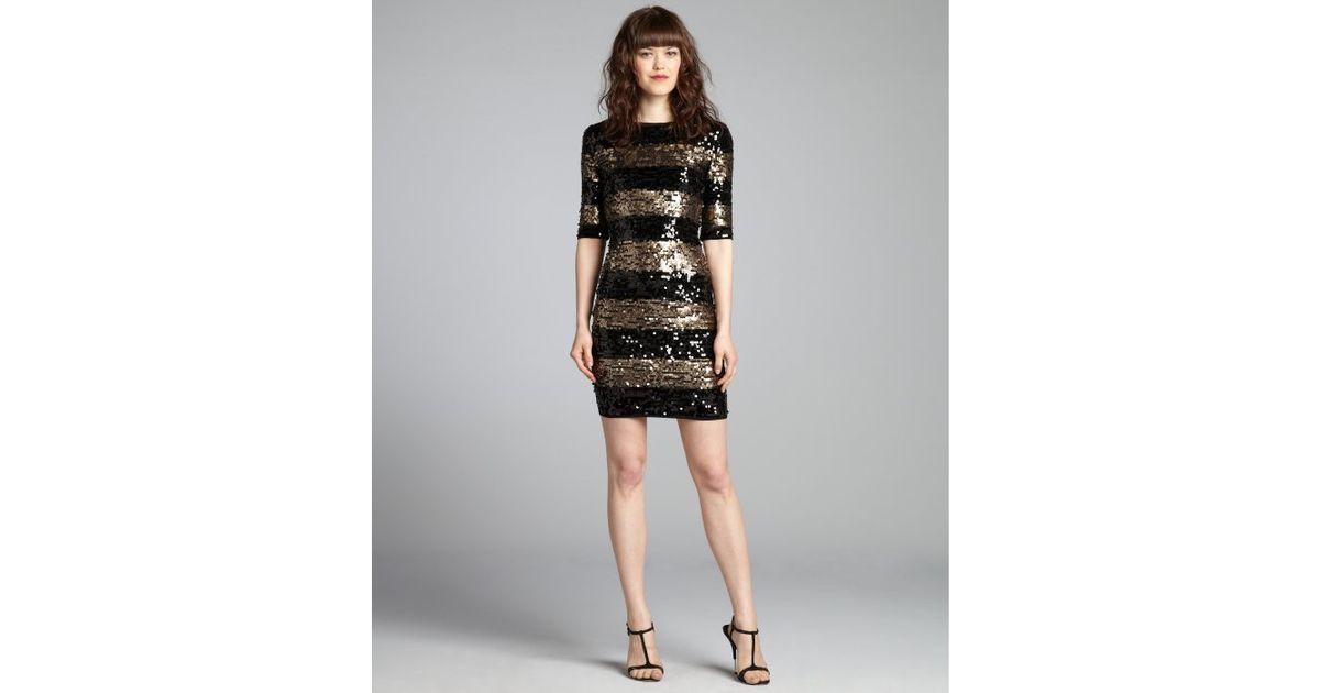 Bcbgmaxazria Black And Gold Sequin Stripe Marta Three Quarter Sleeve Dress In Lyst