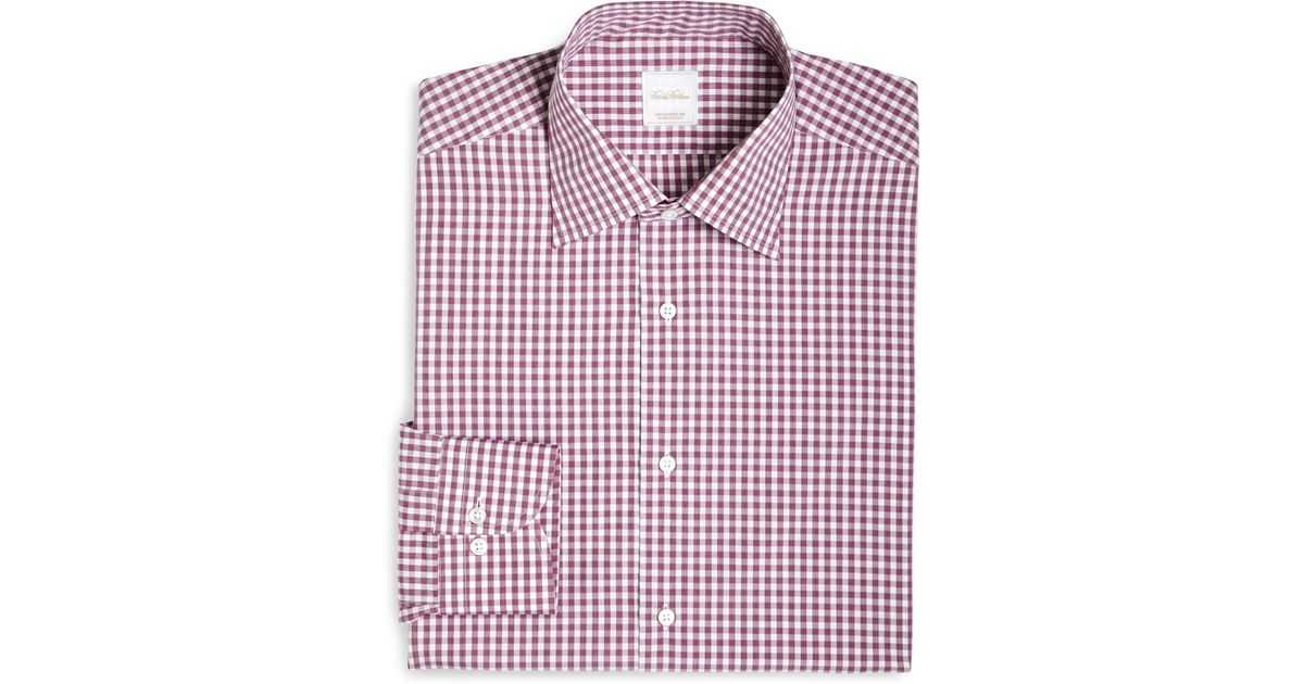 Brooks brothers gingham woven dress shirt in purple for for Pink checkered dress shirt