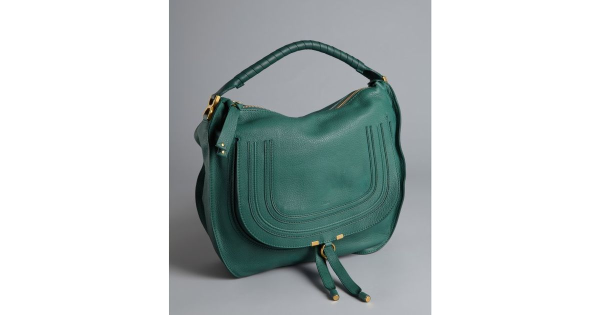 Chloé Emerald Coast Leather Marcie Large Hobo Bag in Green | Lyst