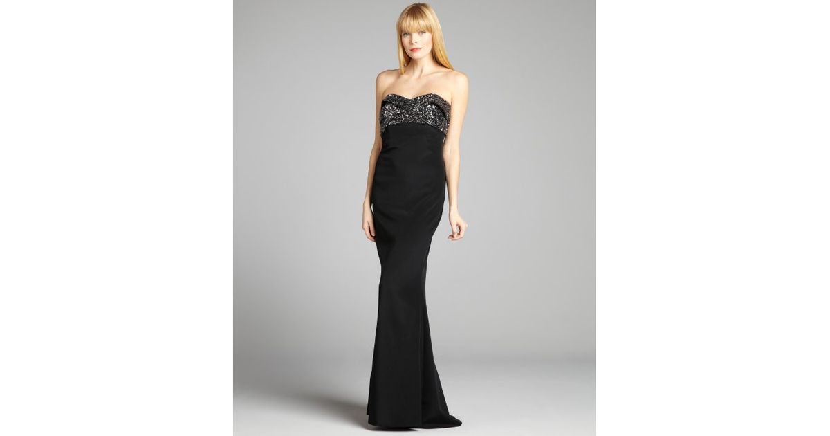 Lyst - Notte By Marchesa Black and Silver Sequin Embellished Banded ...