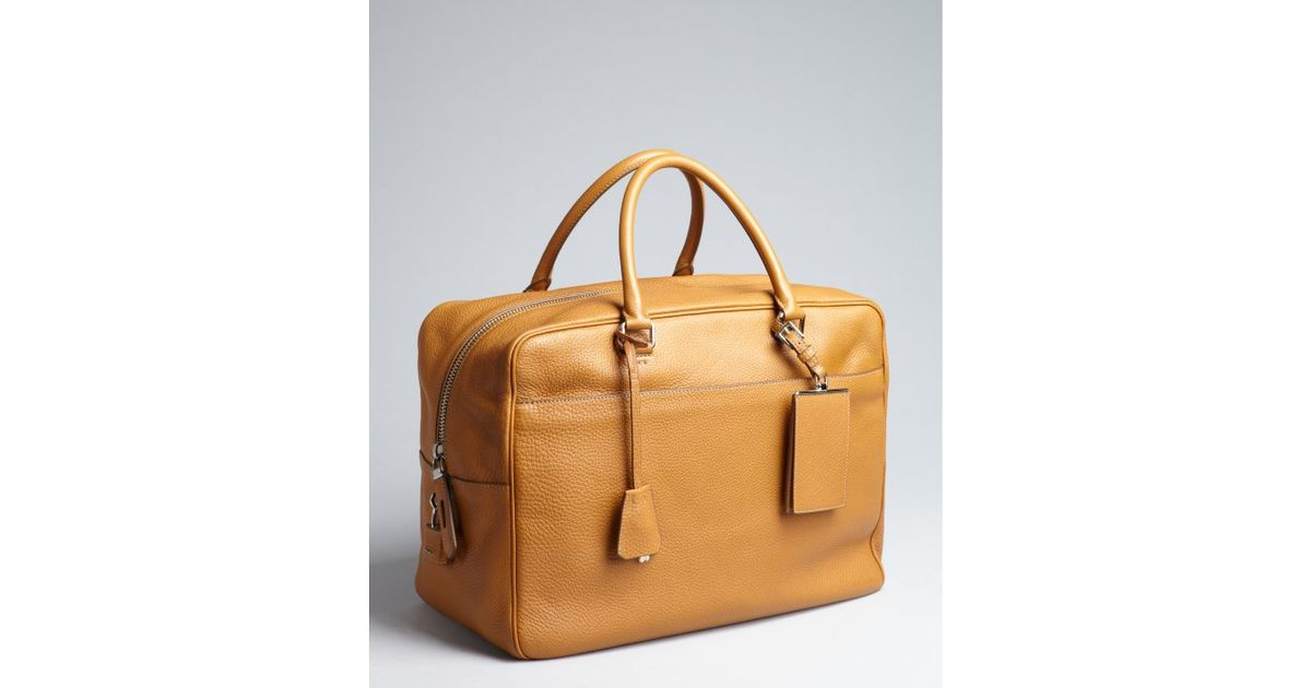 Prada Caramel Leather Large Zip Travel Bag in Brown for Men ...