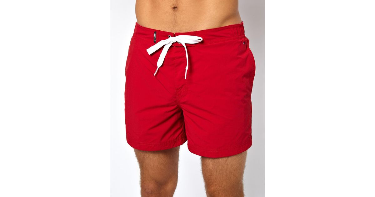 Tommy hilfiger Denim Flag Swim Shorts in Red for Men | Lyst