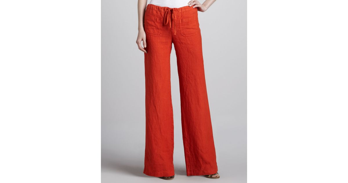 45d89a2b46 Vince Linen Drawstring Beach Pants Coral in Red - Lyst
