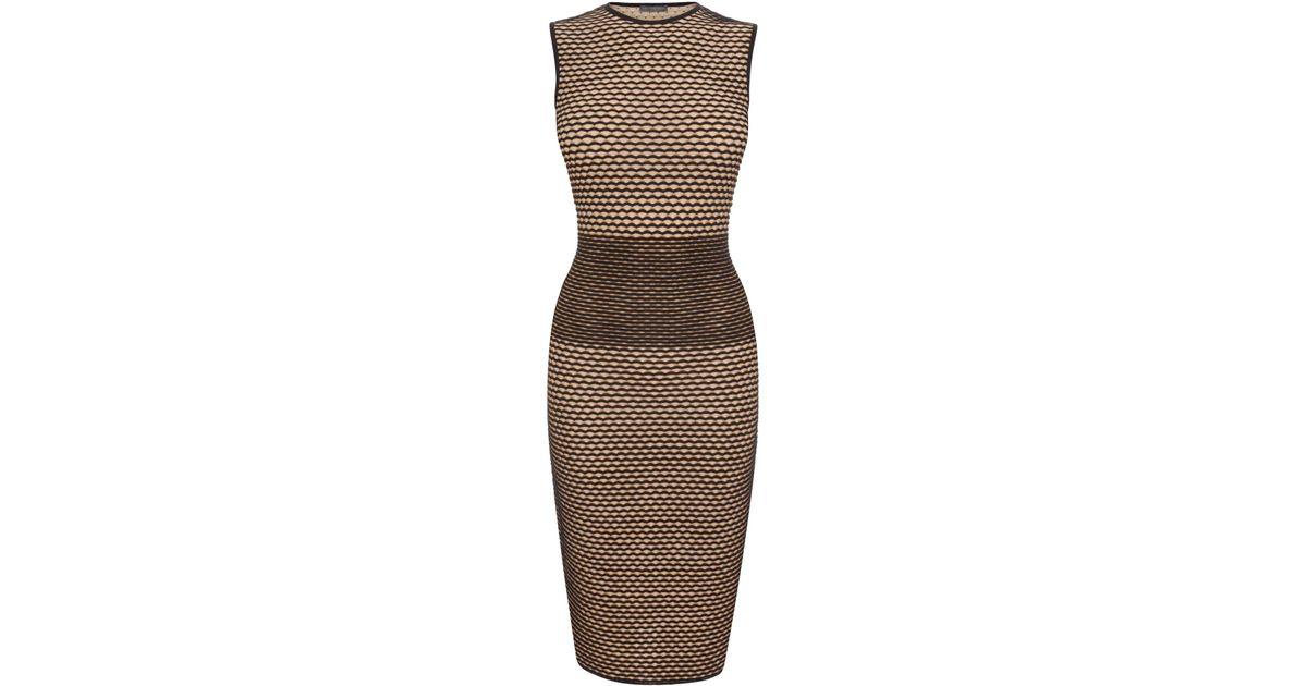 5c9e0d5c09b410 Alexander McQueen 3d Wave Stripe Jacquard Knit Pencil Dress in Brown - Lyst
