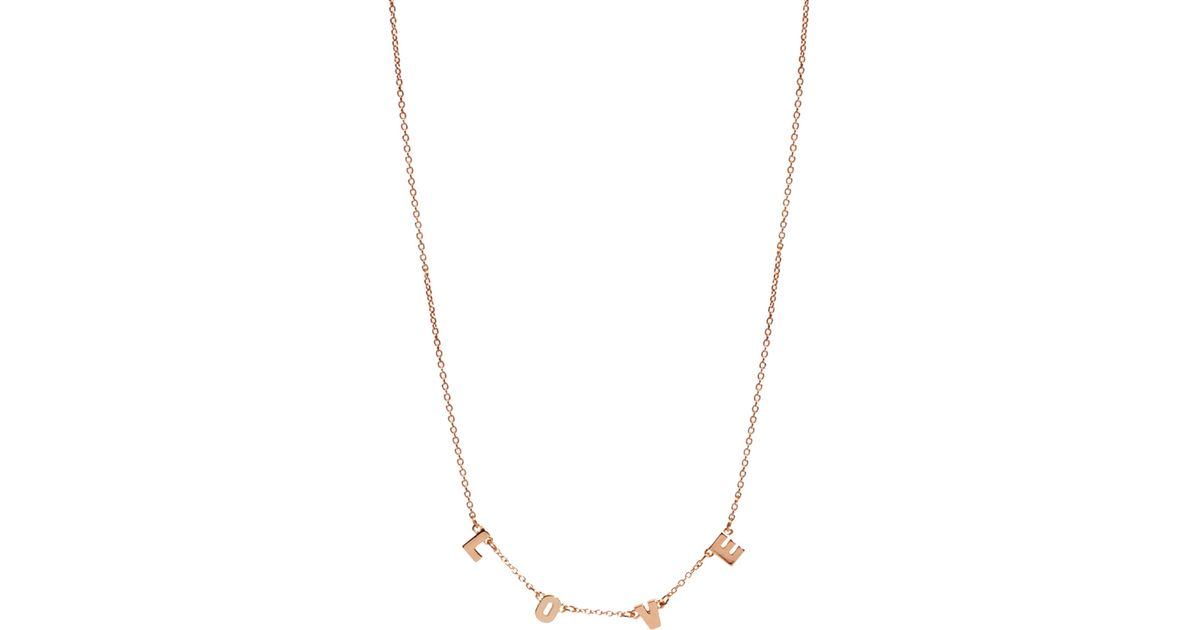 lyst laura lee asos love letter charm necklace in metallic