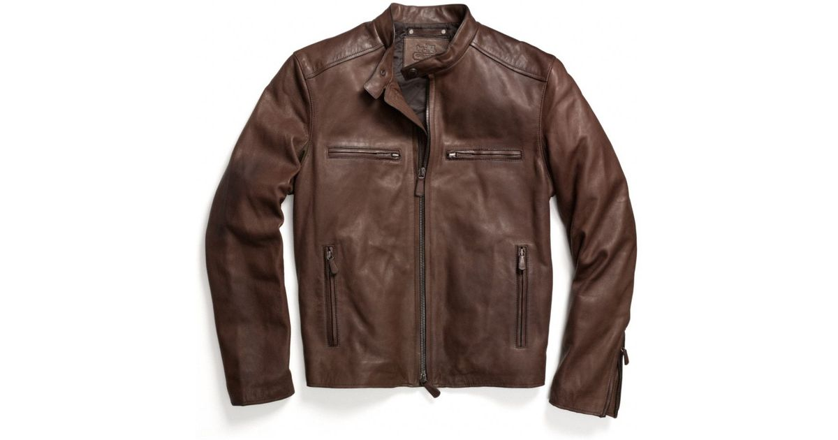 fc2ab7e0d00 ... coupon code for lyst coach bleecker leather racer in brown for men  8ef6d 09f0f