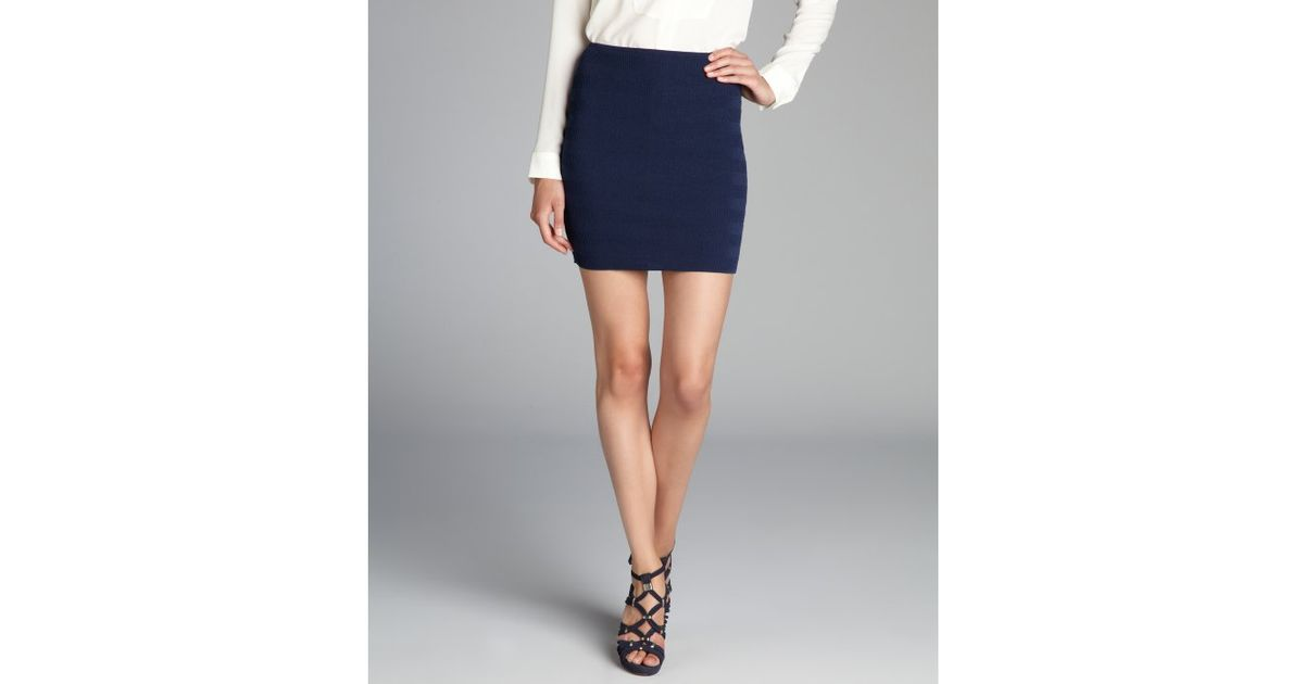 Torn by ronny kobo Navy Blue Claire Knit Mini Skirt in Blue | Lyst