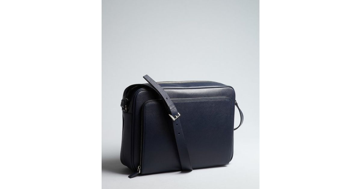 5e7f98719abc ... promo code for lyst prada baltic saffiano leather ipad messenger bag in  blue for men 211fc