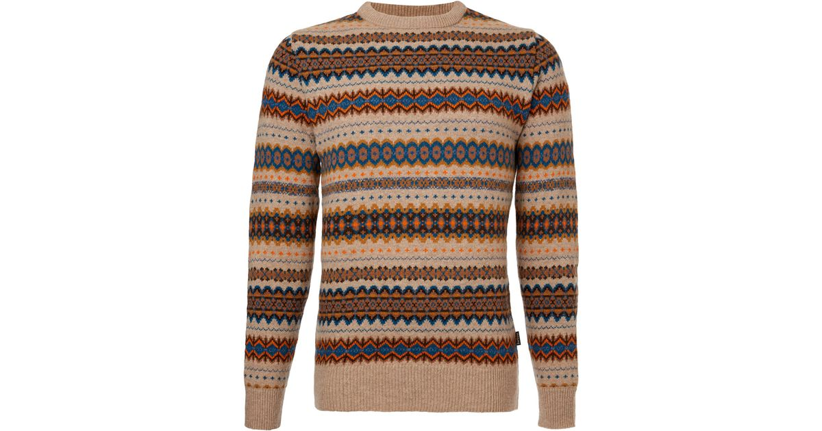 Lyst - Barbour Brown Caister Fair Isle Knit Jumper in Brown for Men