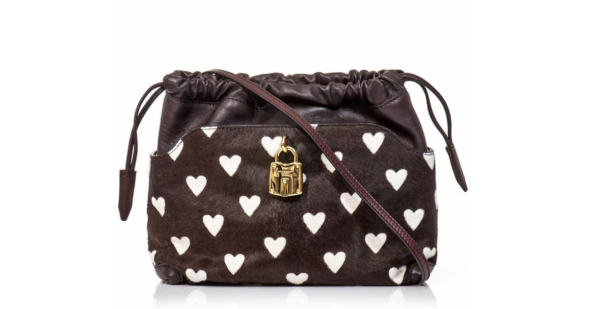 16493830e57d Lyst - Burberry Prorsum Little Crush Heart Calf Hair Bag in Brown