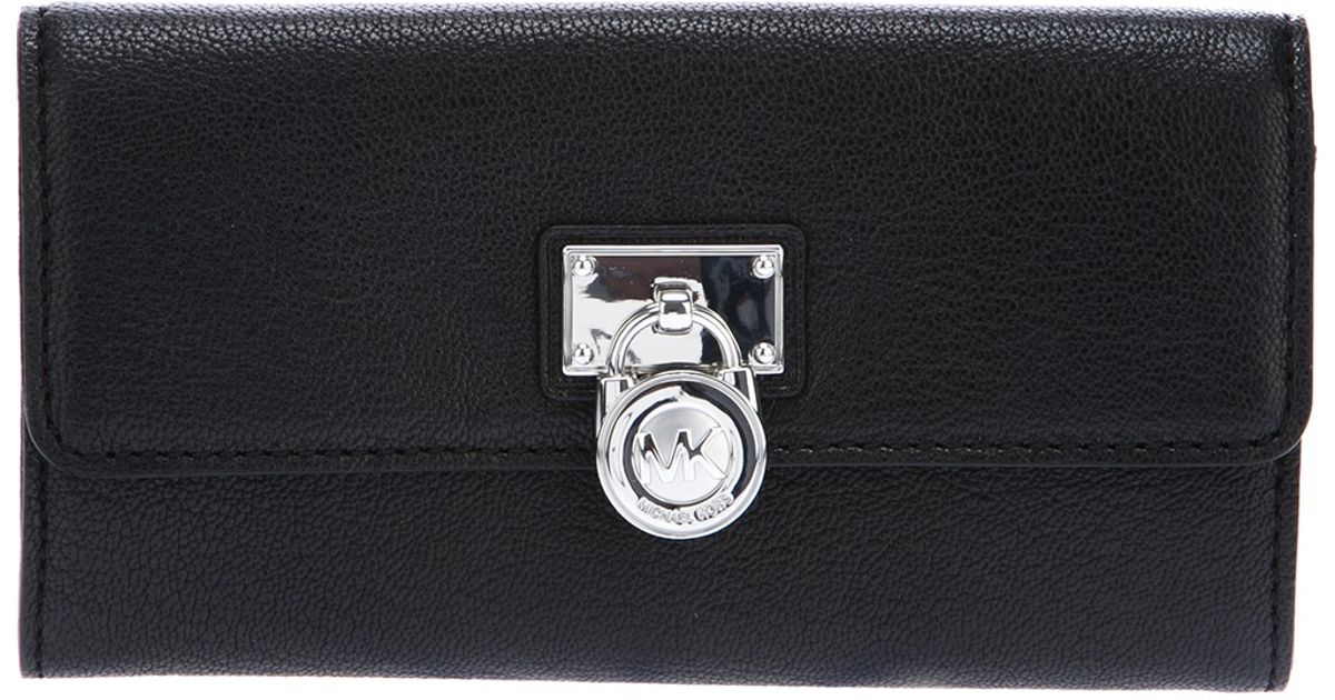 a09518451adc5 MICHAEL Michael Kors Hamilton Large Flap Wallet in Black - Lyst