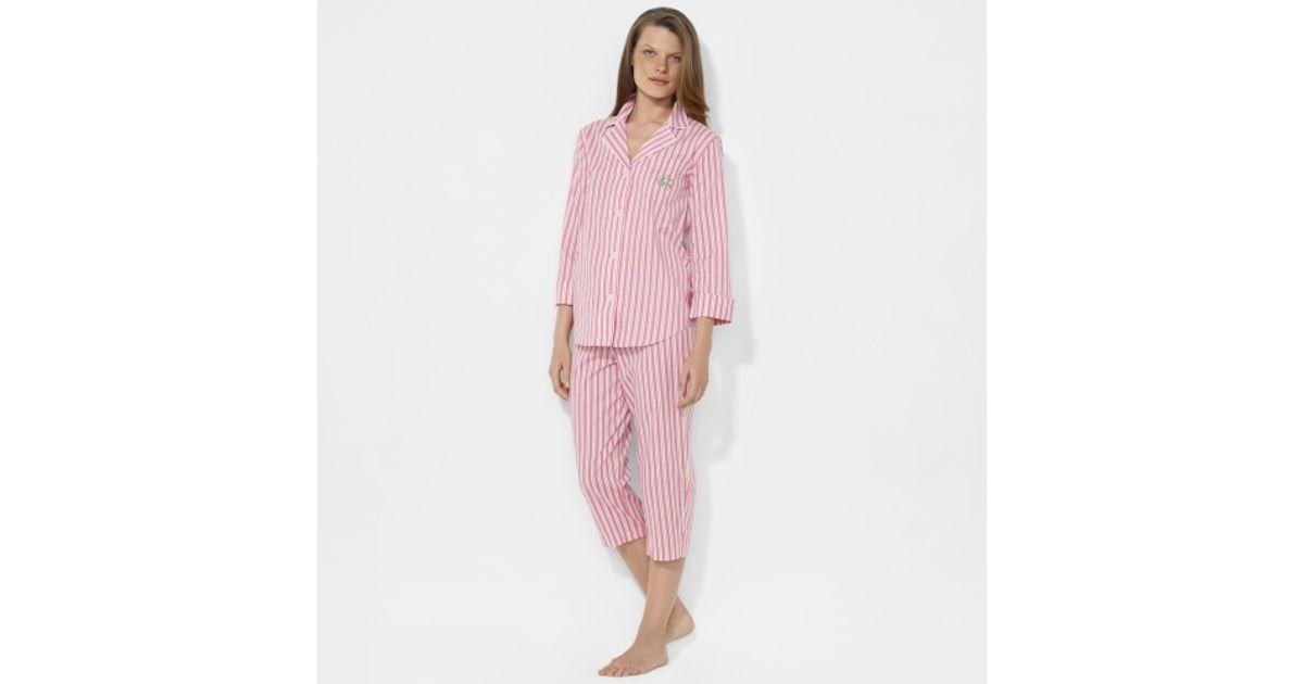 c1af7bb8628 Lauren by Ralph Lauren Striped Capri Pajama Set in Pink - Lyst