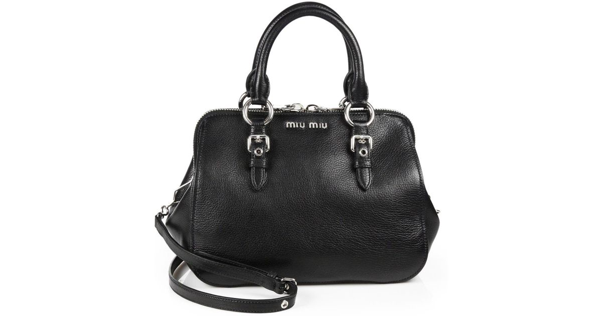 7cbce9828ce2 Lyst - Miu Miu Madras Top Handle Bowling Bag in Black