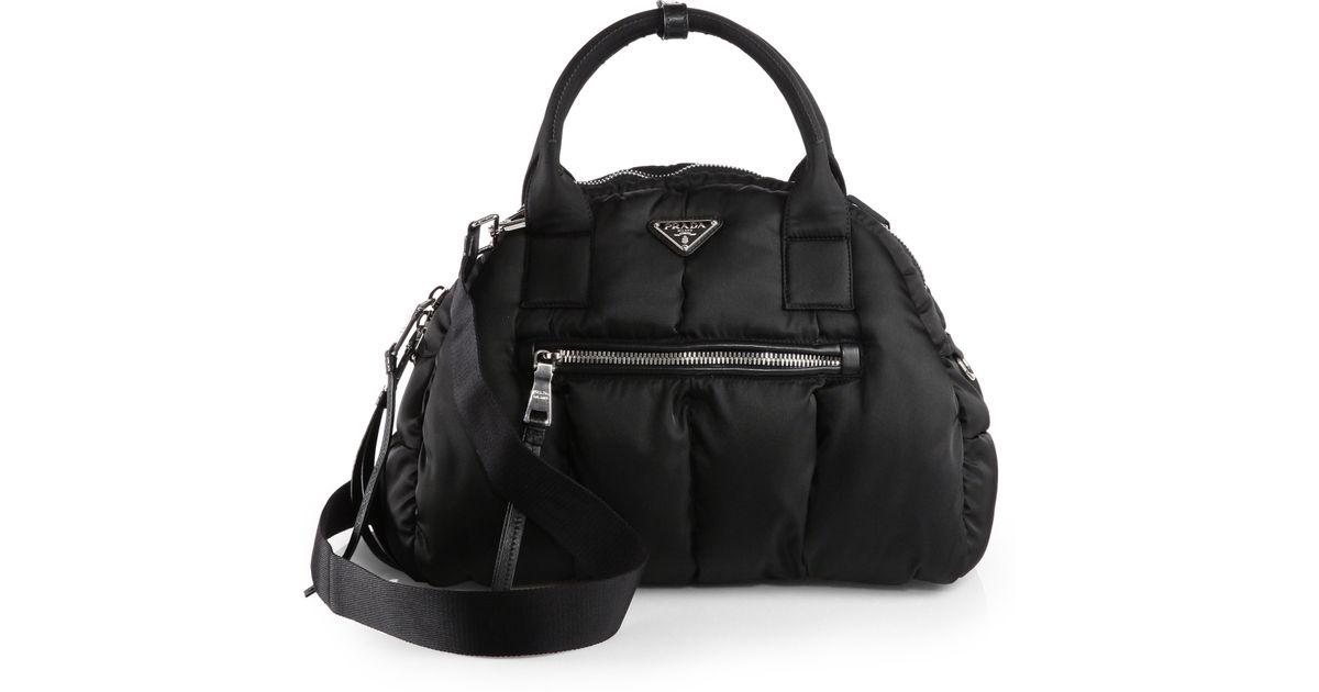 good quality shop for newest discover latest trends Prada Black Tessuto Bomber Bowler Bag