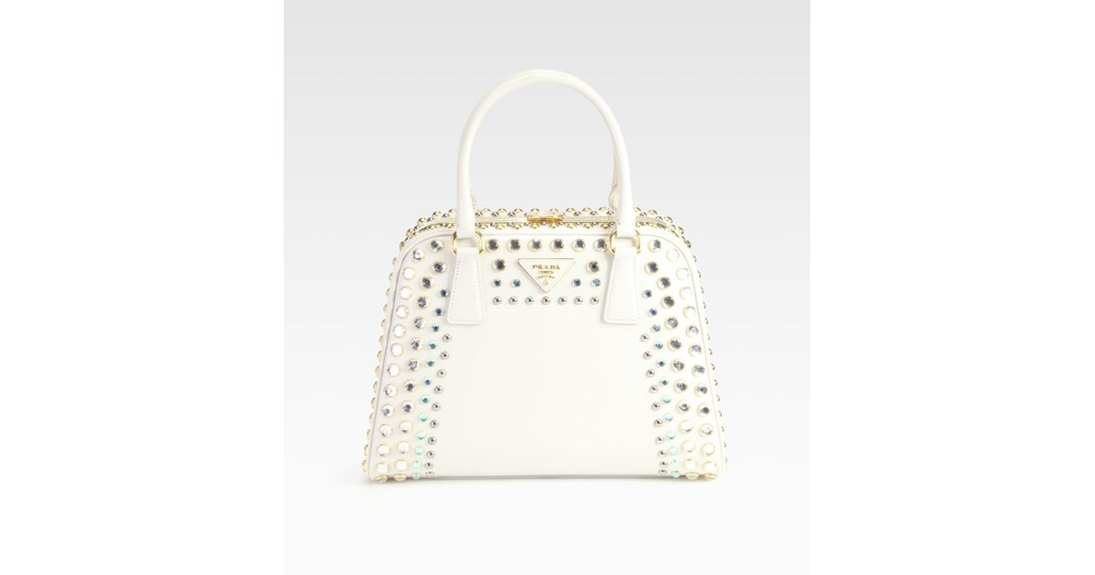 f904bd795750 ... low price lyst prada saffiano vernice embellished frame pyramid top  handle bag in natural ef84f 7c5e9