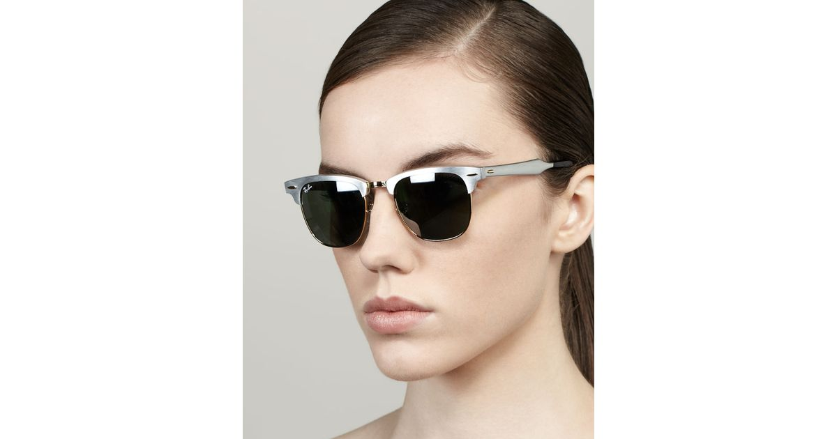 cd37f29536f88 ... silver 384ed 8b603 shop lyst ray ban mirrored lens metal clubmaster  sunglasses in metallic 4b373 13f6c ...
