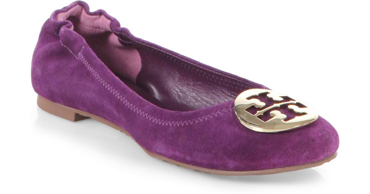 be9c2dcfff9b Lyst - Tory Burch Reva Suede Ballet Flats in Purple
