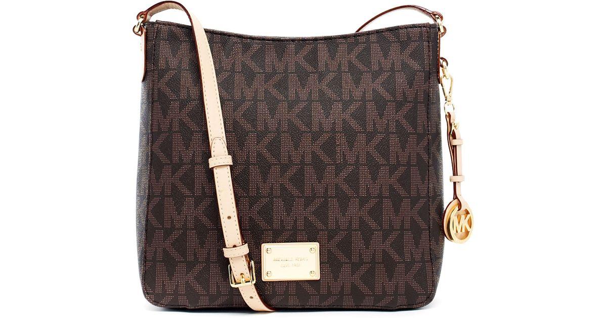 01820e2df6c1 Michael Kors Jet Set Large Travel Logo Messenger Bag in Brown - Lyst
