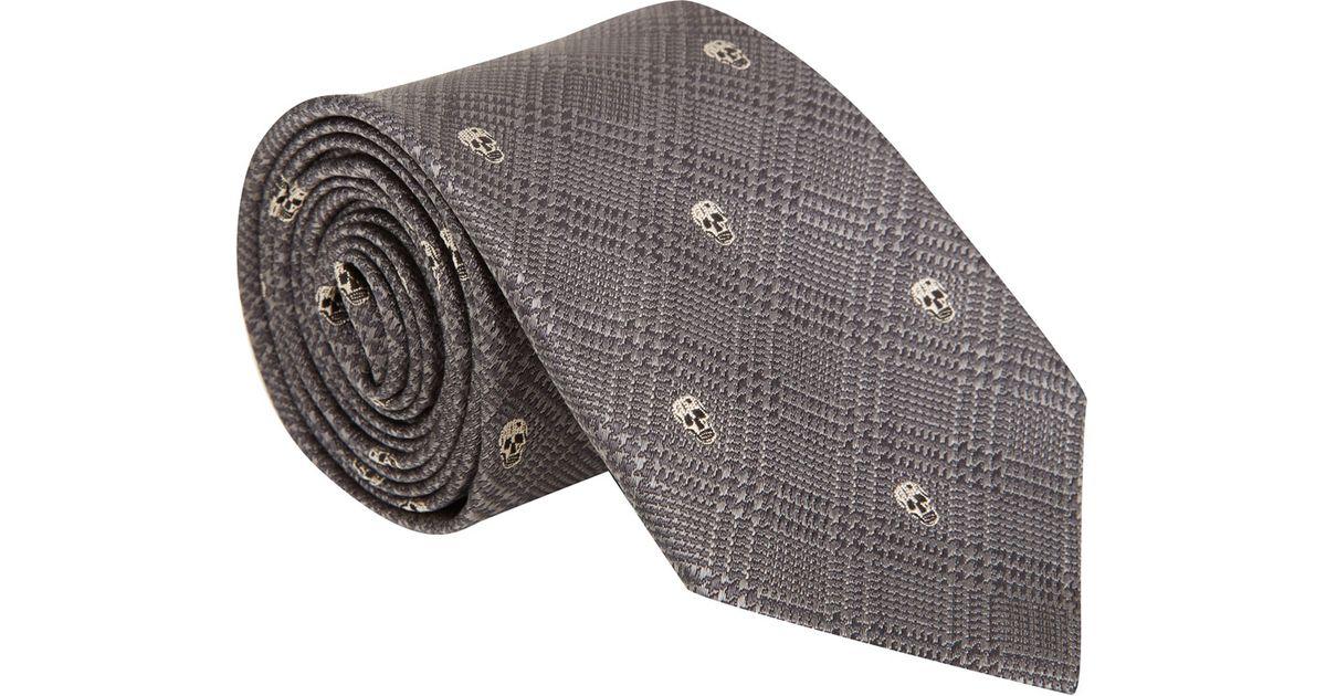 Mens Skull-Motif Checked Silk Necktie Alexander McQueen GfqKtU4m
