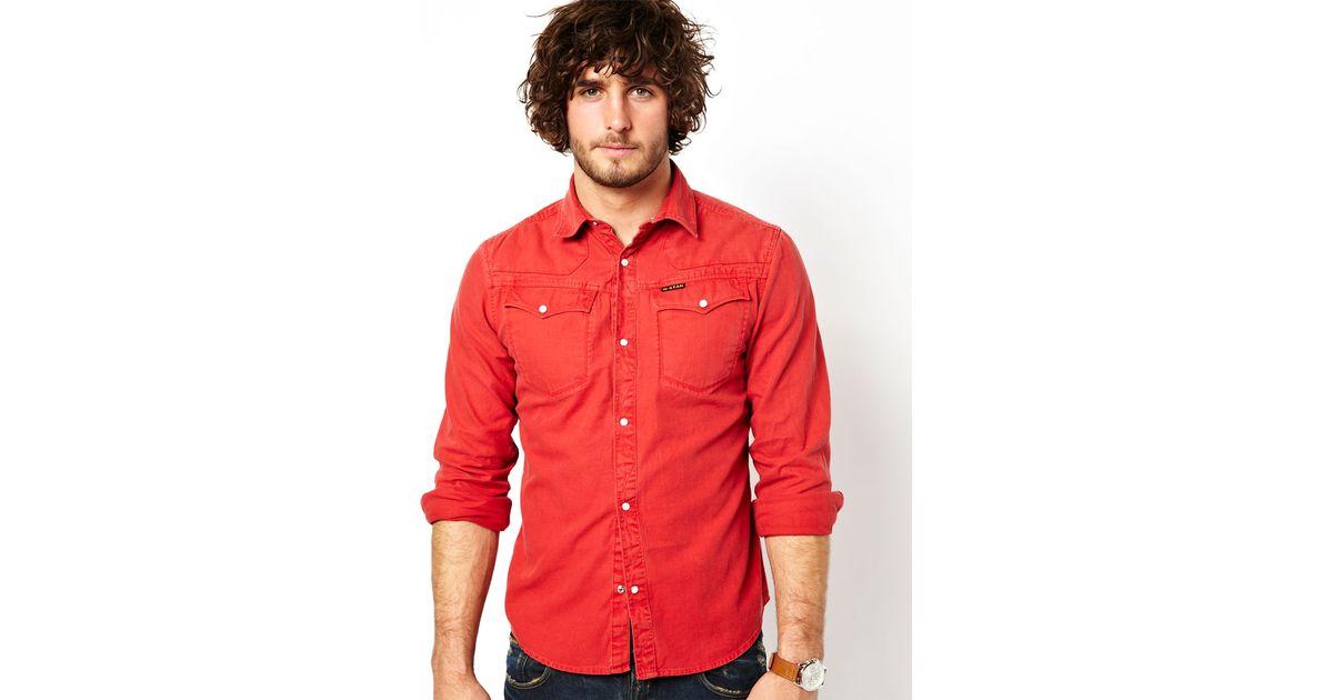 3e6c805ef64e ASOS G Star Denim Shirt Tailor Shooting Western Colored Denim in Red for  Men - Lyst