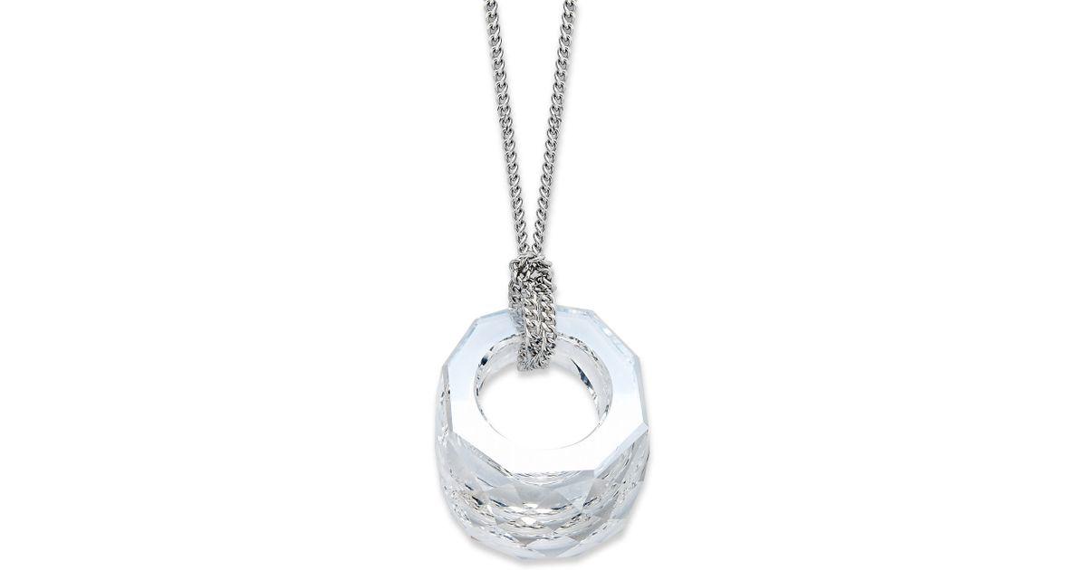 Lyst swarovski rhodiumplated nirvana baby clear crystal pendant lyst swarovski rhodiumplated nirvana baby clear crystal pendant necklace in metallic aloadofball Gallery