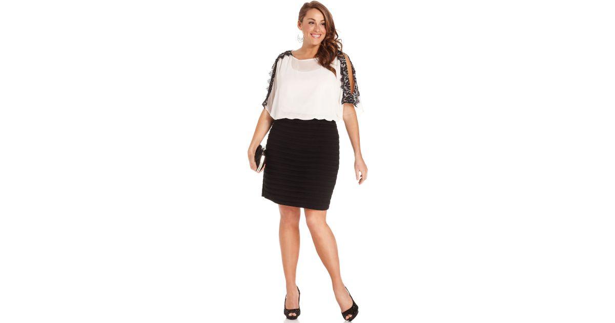 Xscape Xscape Plus Size Dress Dolmansleeve Lacetrim Blouson in White ...