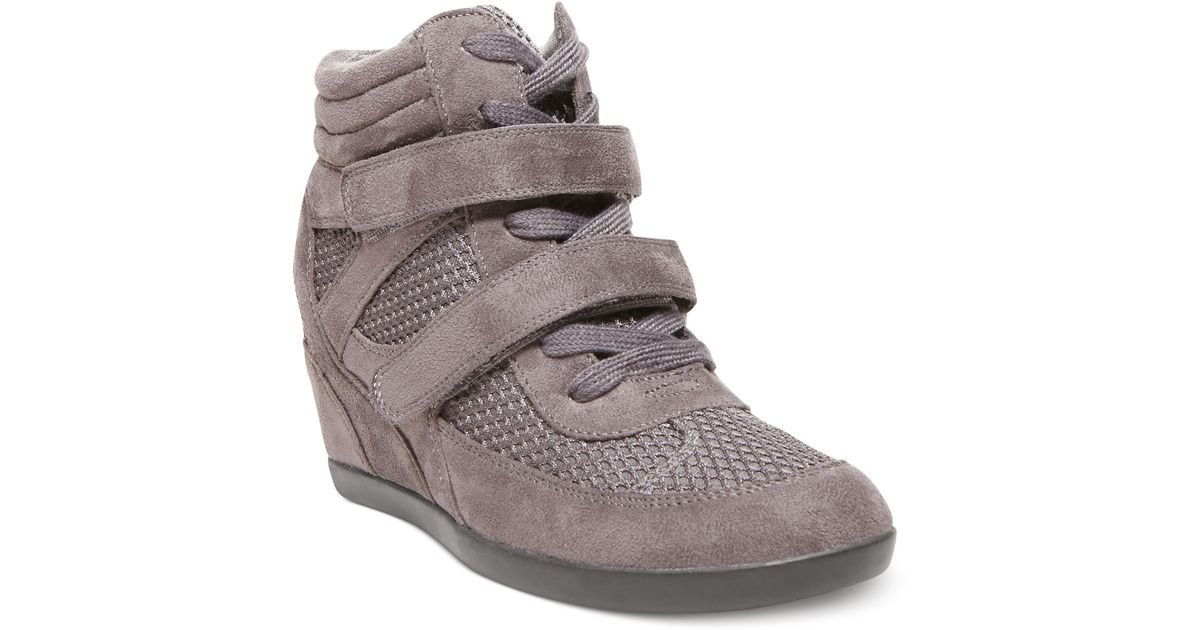 d110389e749 Lyst - Madden Girl Hickory Wedge Sneakers in Gray