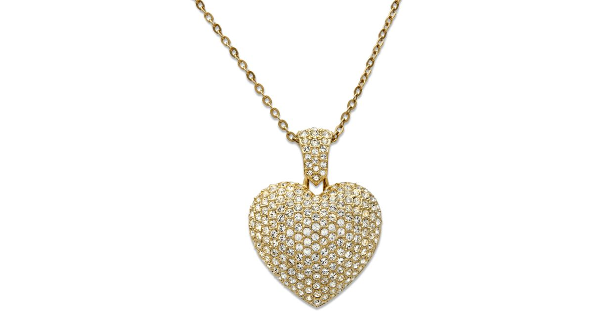 Lyst swarovski puffed heart pendant in metallic mozeypictures Images