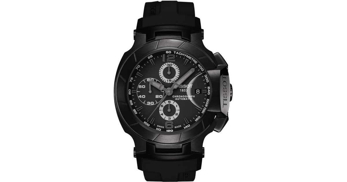 Tissot Mens Swiss Automatic Chronograph Trace Black Rubber Strap In