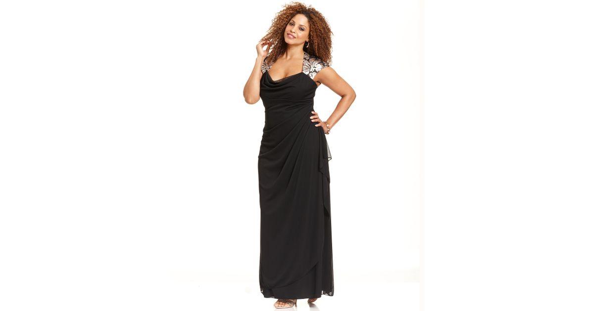 Lyst Xscape Xscape Plus Size Dress Capsleeve Metalliclace Gown In