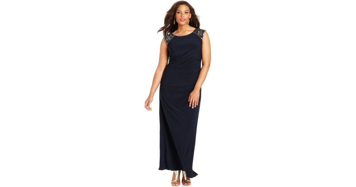 Lyst Xscape Xscape Plus Size Dress Capsleeve Beaded Gown In Black