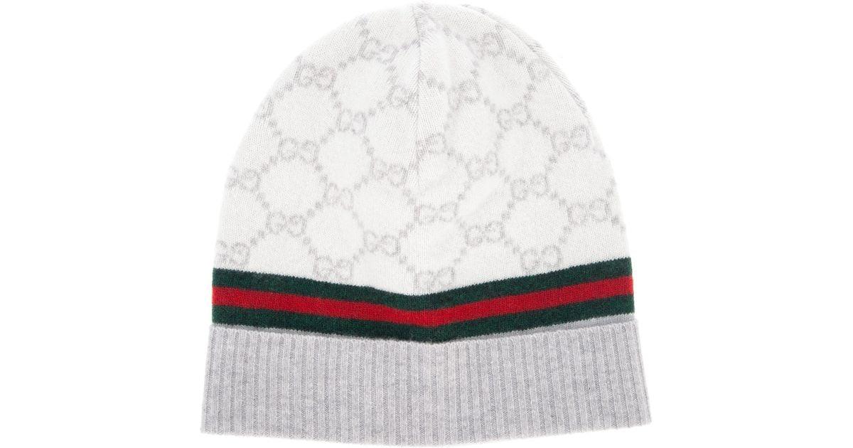 4f14b28cb859c1 Gucci Monogram Beanie Hat in Natural - Lyst