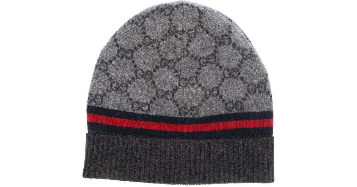 Lyst - Gucci Monogram Beanie Hat in Gray a420cd79908