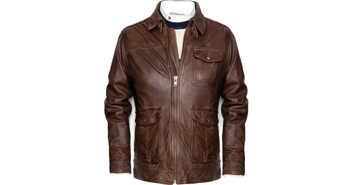mango vintage leather jacket in brown for lyst