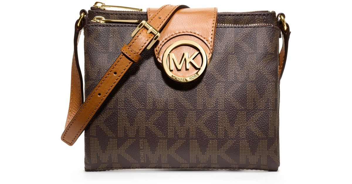 6cfd6fdbf1070a Michael Kors Michael Large Fulton Logo Crossbody in Brown - Lyst