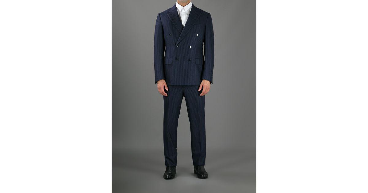Ermenegildo zegna Double Breasted Pinstripe Suit in Blue for Men ...