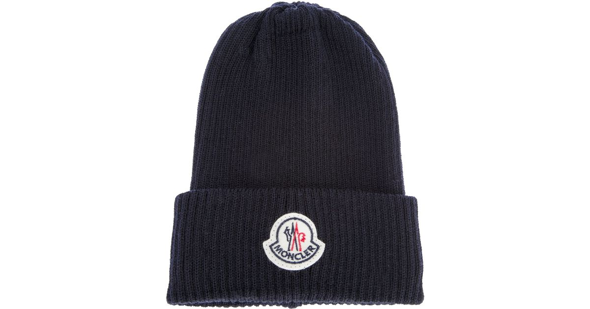 abd6513a82ca7 ... new zealand lyst moncler branded beanie hat in blue for men 566e0 9bc37  ...