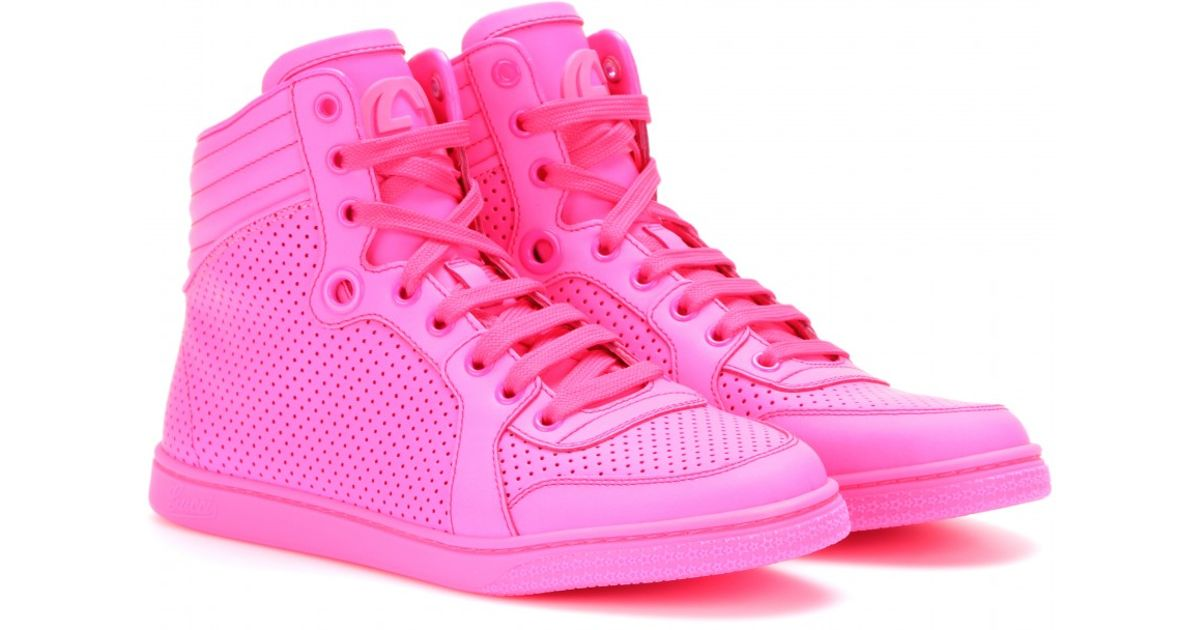 lyst gucci hightop neon leather sneakers in pink. Black Bedroom Furniture Sets. Home Design Ideas