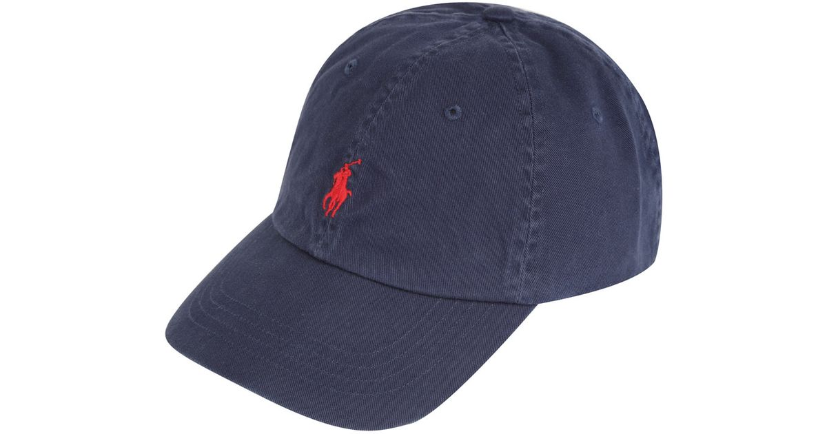 26b90f3a59 Polo Ralph Lauren Navy and Red Logo Cap in Blue for Men - Lyst