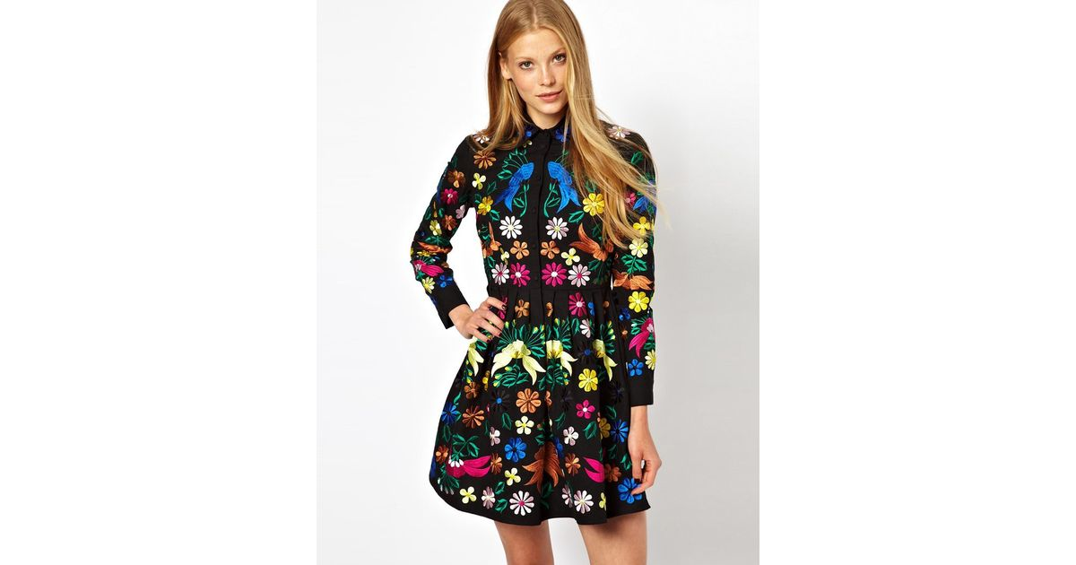 a56ae8a0d67f6 Lyst - ASOS Premium Embroidered Shirt Dress in Black