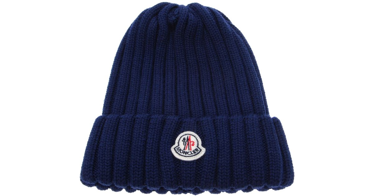 Lyst - Moncler Wool Ribbed Knit Beanie Hat in Blue for Men 5c3056b831f