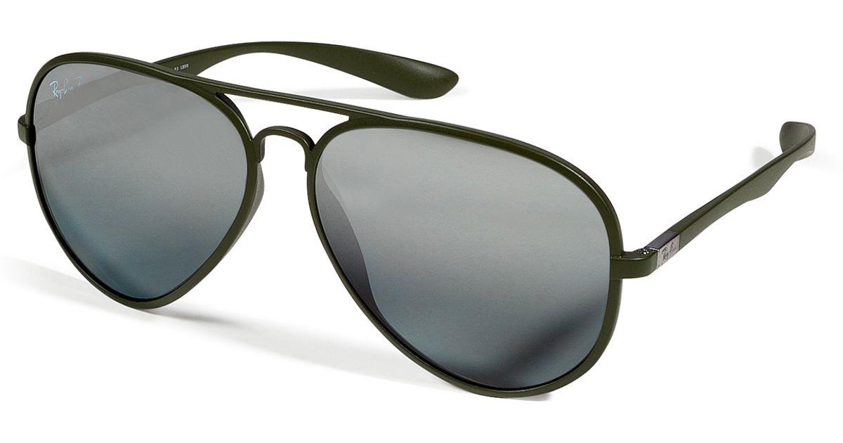 c9d804ba7e Lyst - Ray-Ban Matte Green Liteforce Aviator Tech Polarized Sunglasses in  Green