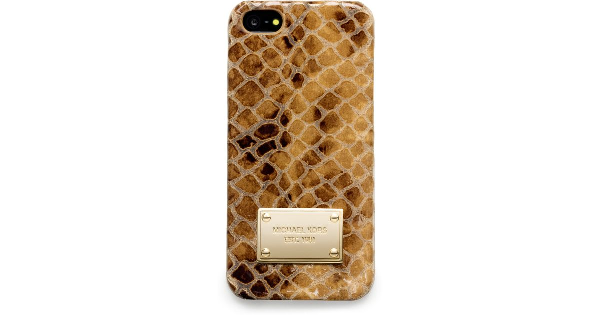 060632c1bf6d6d Michael Kors Michael Snake Print Leather Iphone 5 Cover in Natural - Lyst