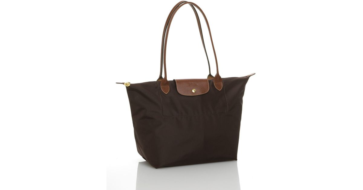 9f3c707d659 Longchamp Le Pliage Large Shoulder Tote with Long Handle in Brown - Lyst