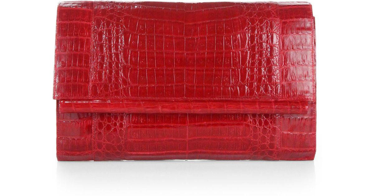 see by chloe bag sale - Nancy gonzalez Large Crocodile Tube Clutch in Red (SHINY RED) | Lyst