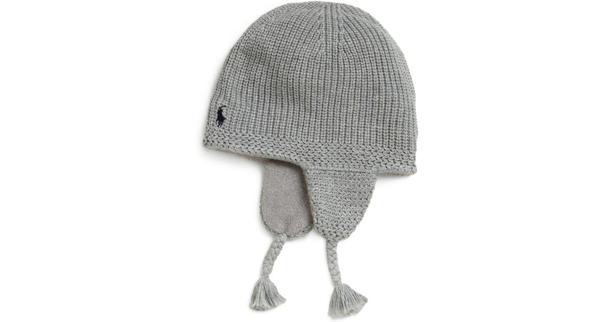 9ea697560ff Lyst - Ralph Lauren Toddler Boys Knit Earflap Hat in Gray for Men