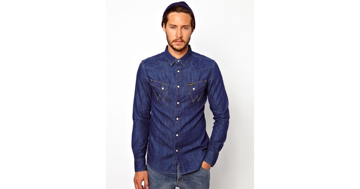 82f3bbf082 Wrangler Denim Shirt Slim Fit City Western in Blue for Men - Lyst