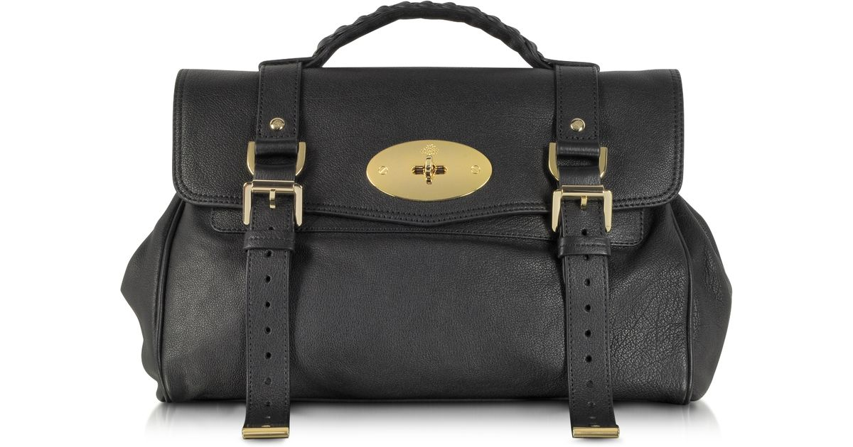77b782a608 Lyst - Mulberry Alexa Black Polished Buffalo Leather with Soft Gold Satchel  Bag in Black