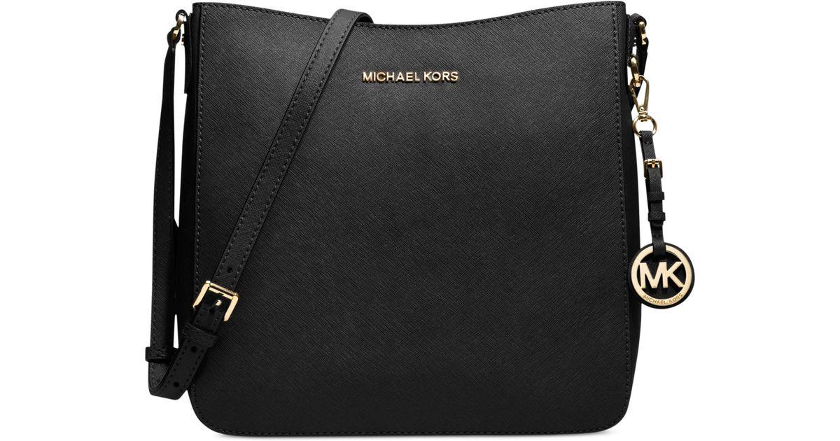 971290bfef97 Lyst - Michael Kors Michael Jet Set Travel Large Saffiano Messenger Bag in  Black