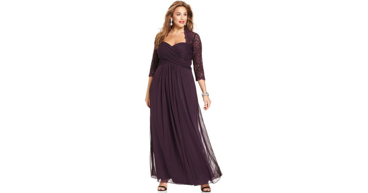 Lyst - Xscape Xscape Plus Size Dress Threequartersleeve Glitter Lace ...